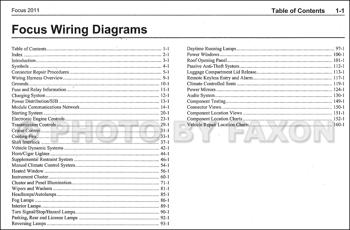 2011FordFocusOWD TOC 2011 ford focus wiring diagram manual original 2006 ford focus wiring diagram at bayanpartner.co