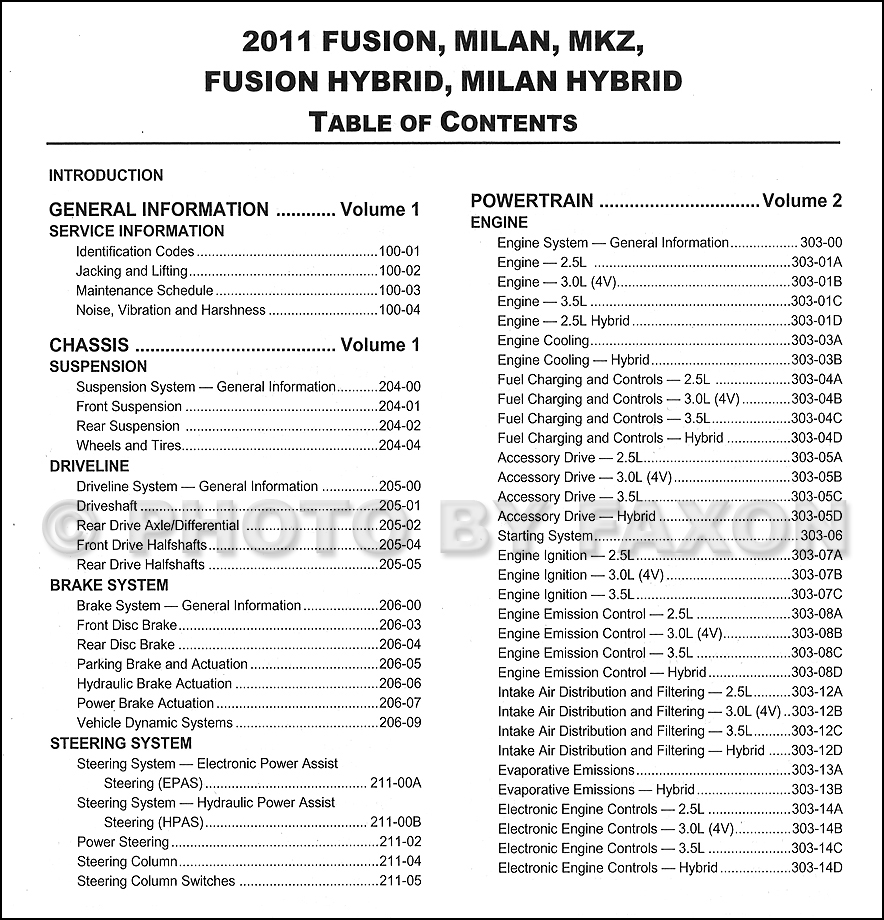 2011 Ford Fusion  Mercury Milan  Lincoln Mkz Repair Shop Manual Original 3 Volume Set
