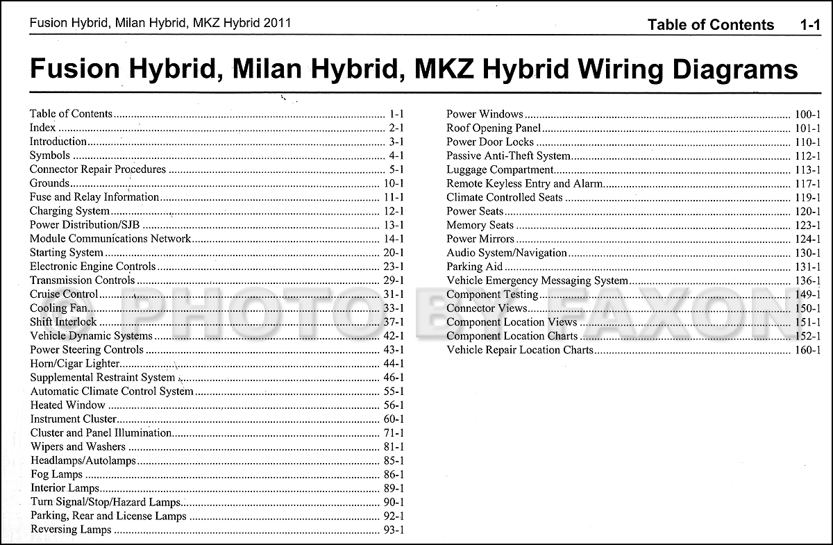 2011 hybrid ford fusion mercury milan lincoln mkz wiring diagram 2011 hybrid ford fusion mercury milan lincoln mkz wiring diagram manual original