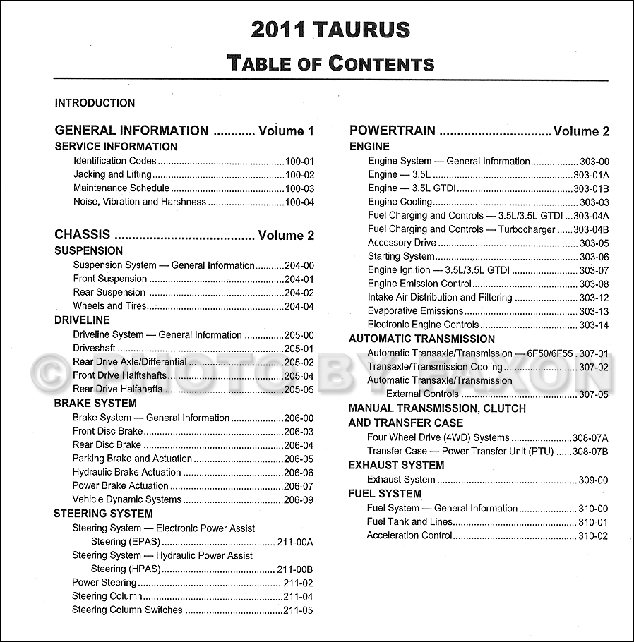 2011 ford taurus repair shop manual original 2 volume set. Black Bedroom Furniture Sets. Home Design Ideas