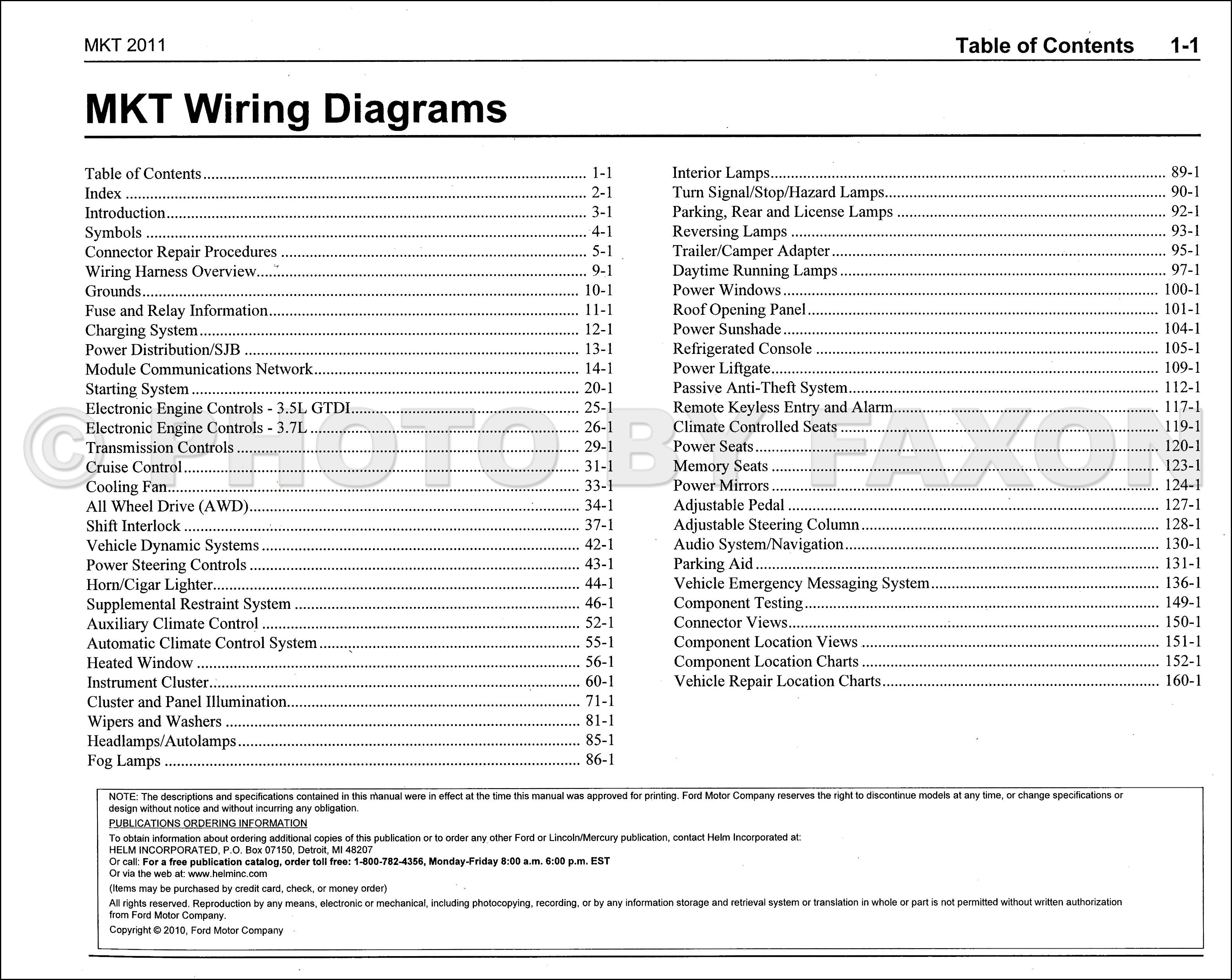 2011 Lincoln Mkt Wiring Diagram Manual Original