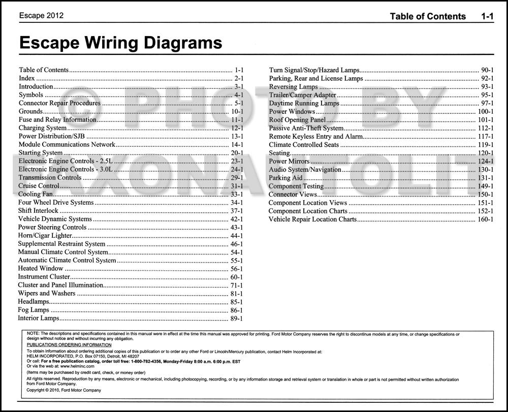 2012 Ford Escape Gas Wiring Diagram Manual Original - Repair Wiring Scheme