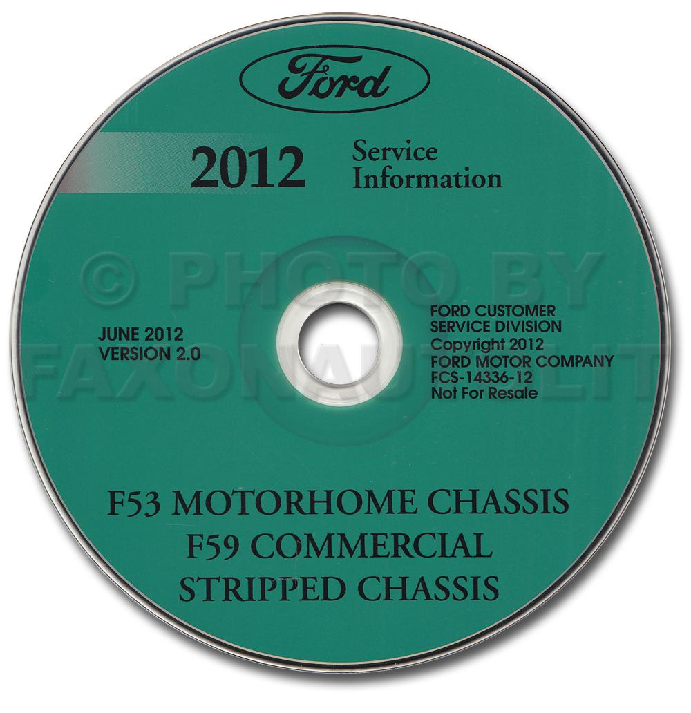 2012 ford f53 motorhome and f59 repair shop manual on cd rom original