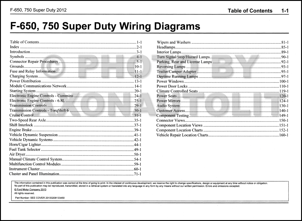 2012 Ford F-650 and F-750 Super Duty Truck Wiring Diagram Manual ...