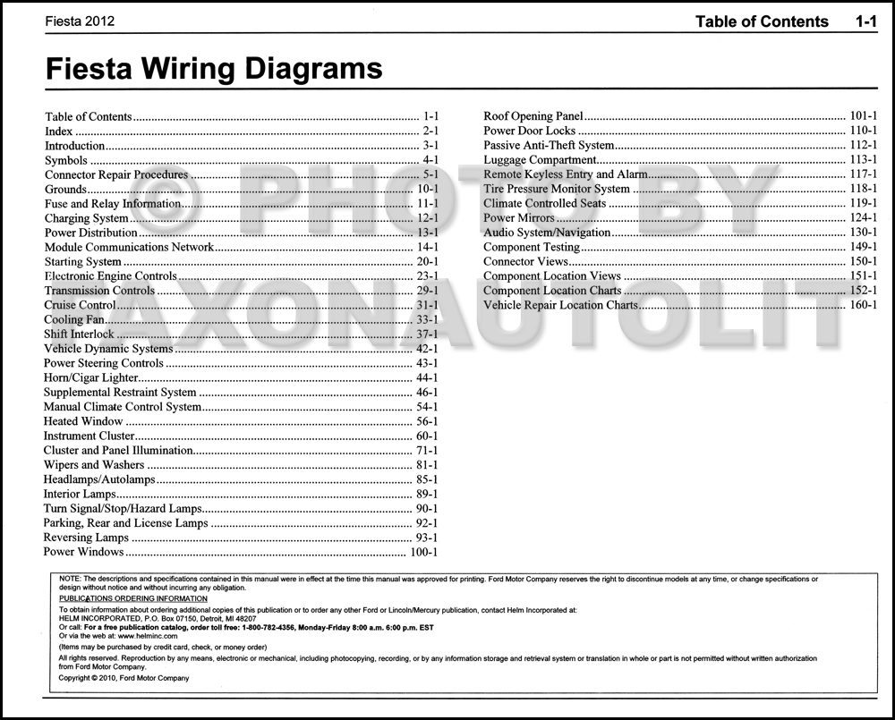 2012FordFiestaOWD TOC 2012 ford fiesta wiring diagram manual original