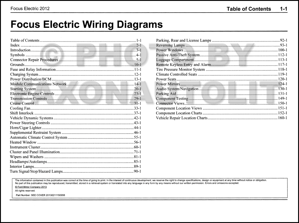 2012FordFocusElectricOWD TOC 2012 ford focus electric wiring diagram manual original 2012 ford focus wiring diagram at aneh.co