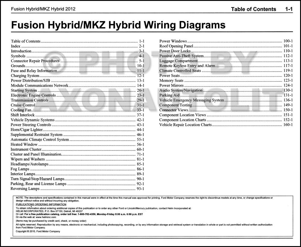 2012 Hybrid Ford Fusion Lincoln Mkz Wiring Diagram Manual Original