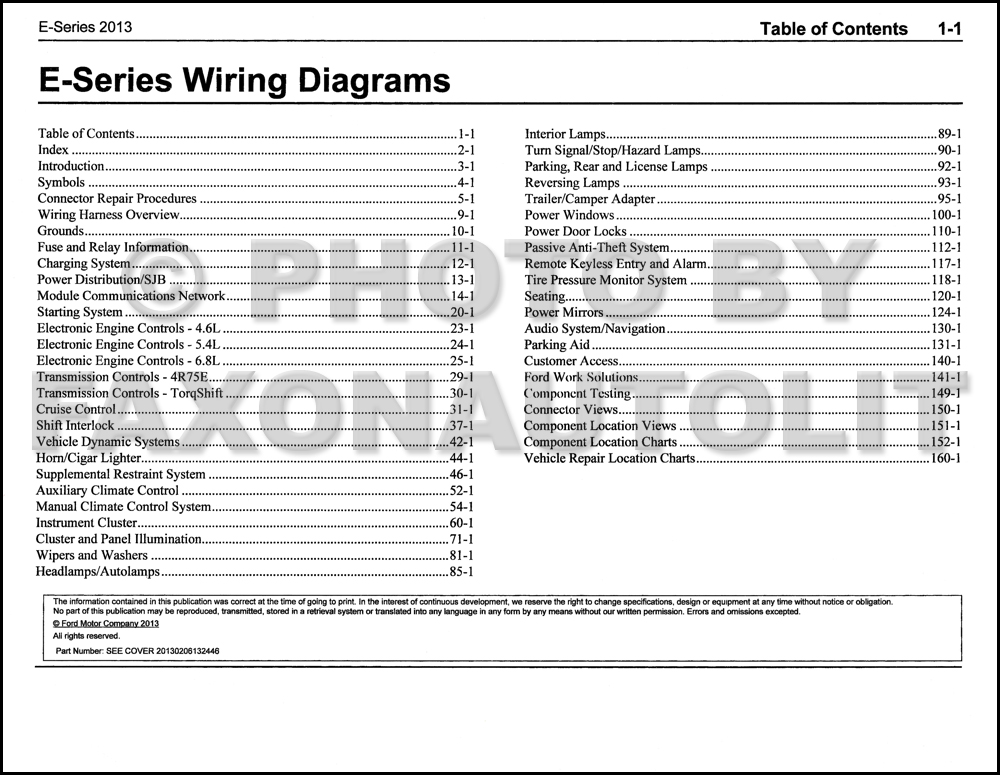 2013FordESeriesEWD TOC 2013 ford econoline wiring diagram manual original van e150 e250 ford e350 wiring diagram at crackthecode.co