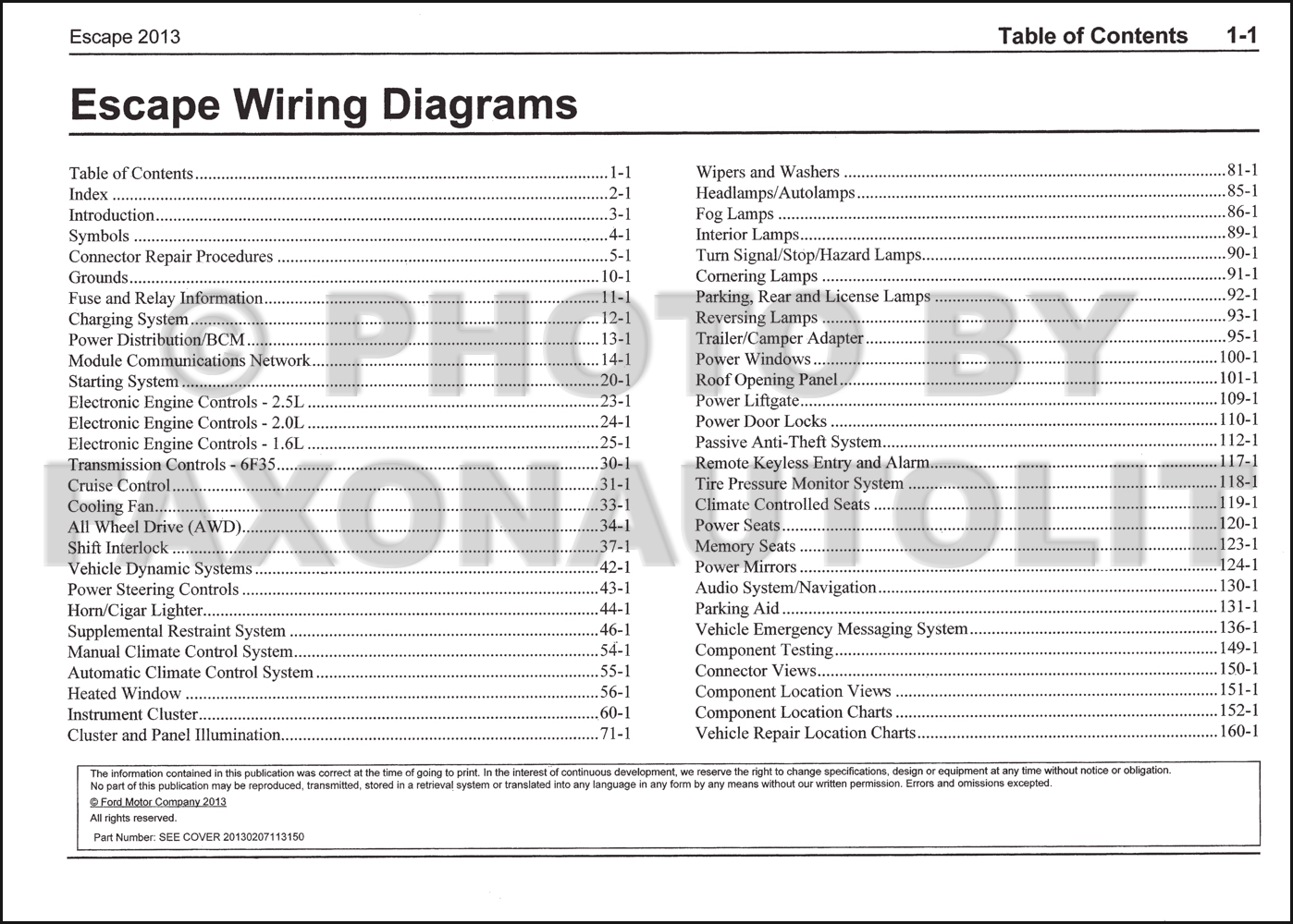 2013FordEscapeOWD TOC 2013 ford escape wiring diagram manual original ford escape wiring diagram at gsmportal.co