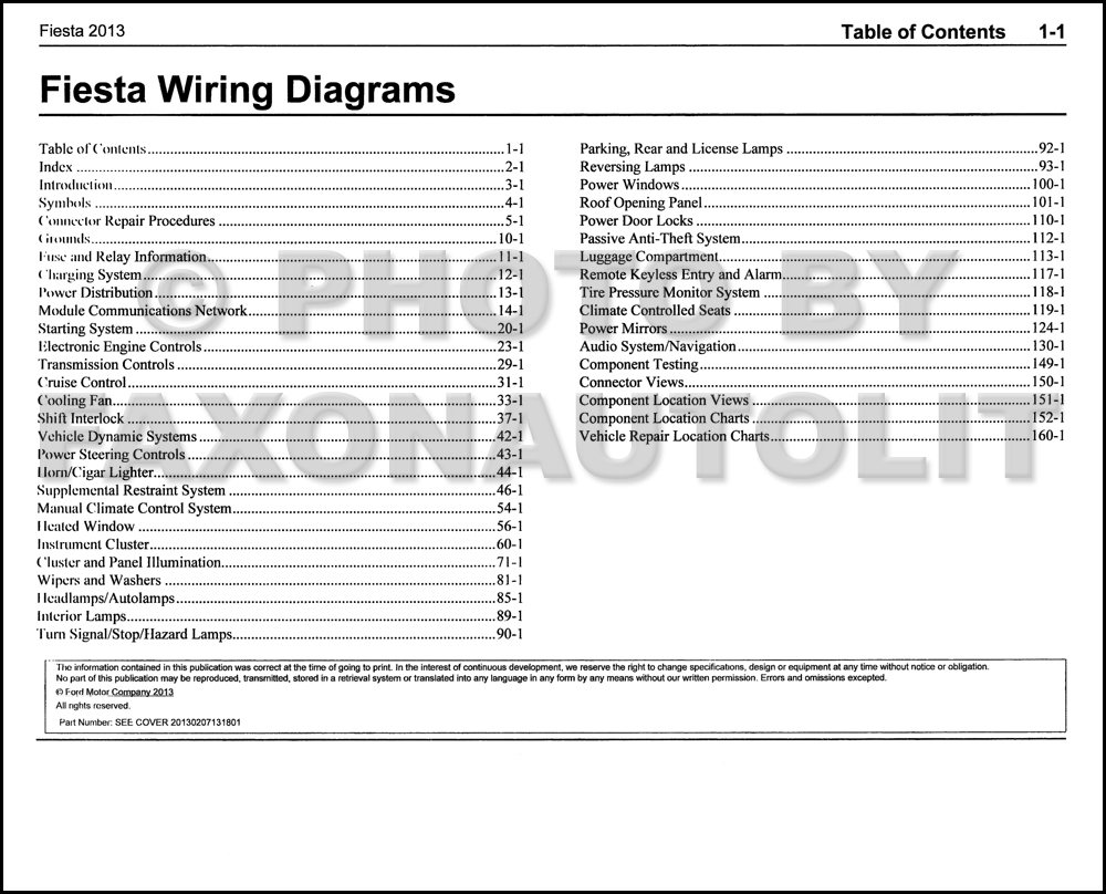 2013FordFiestaEWD TOC 2013 ford fiesta wiring diagram manual original 2014 ford fiesta wiring diagram at gsmportal.co