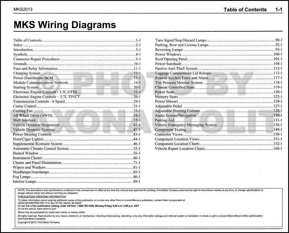 2013 Lincoln Mks Wiring Diagram Manual Original