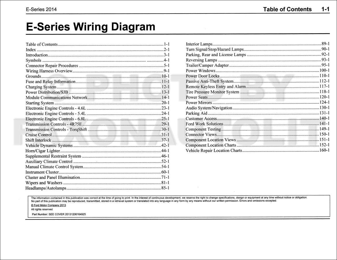 2014 Ford Econoline Wiring Diagram Manual Original Van E150 E250 E350 E450