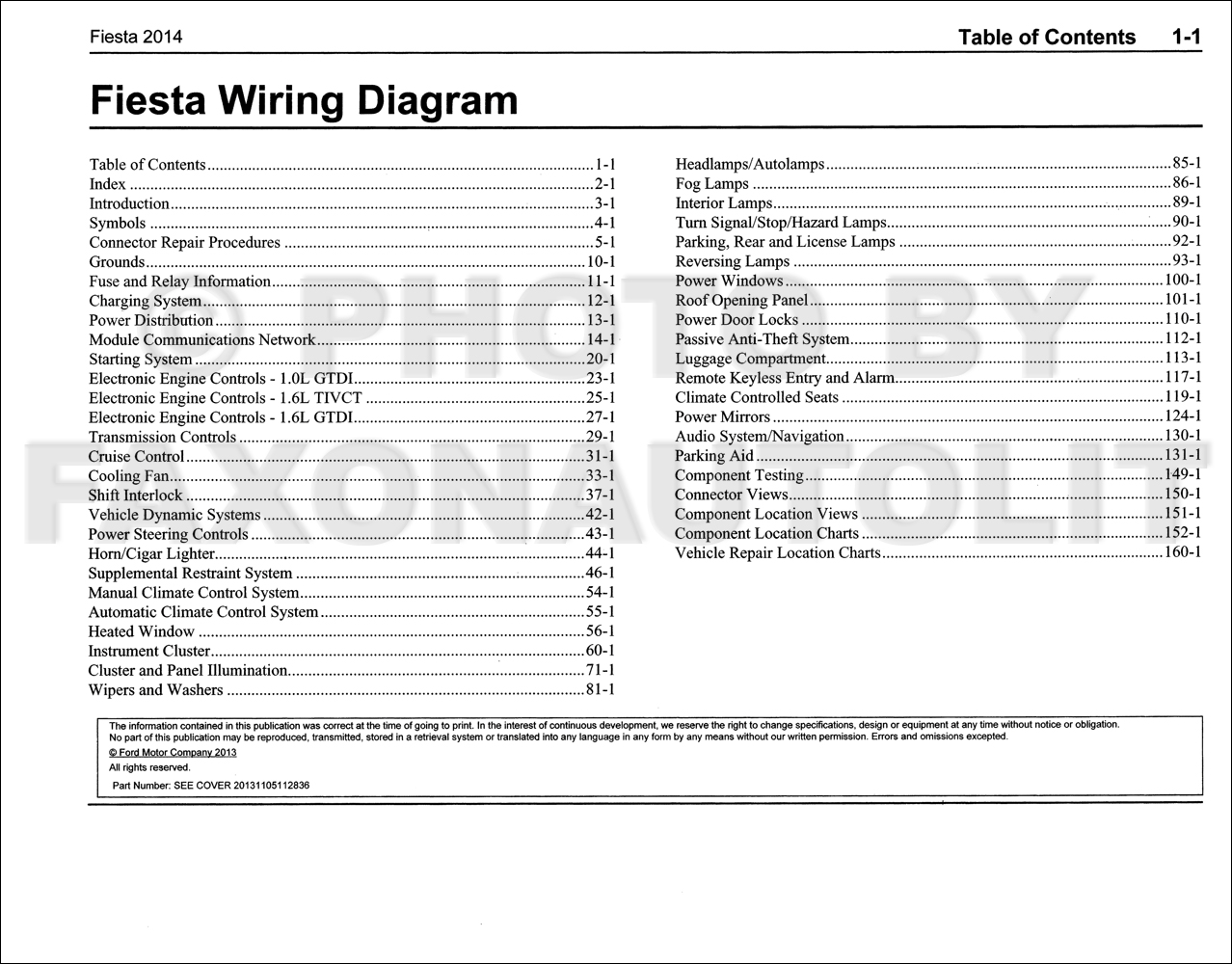 2014FordFiestaOWD TOC 2014 ford fiesta wiring diagram manual original