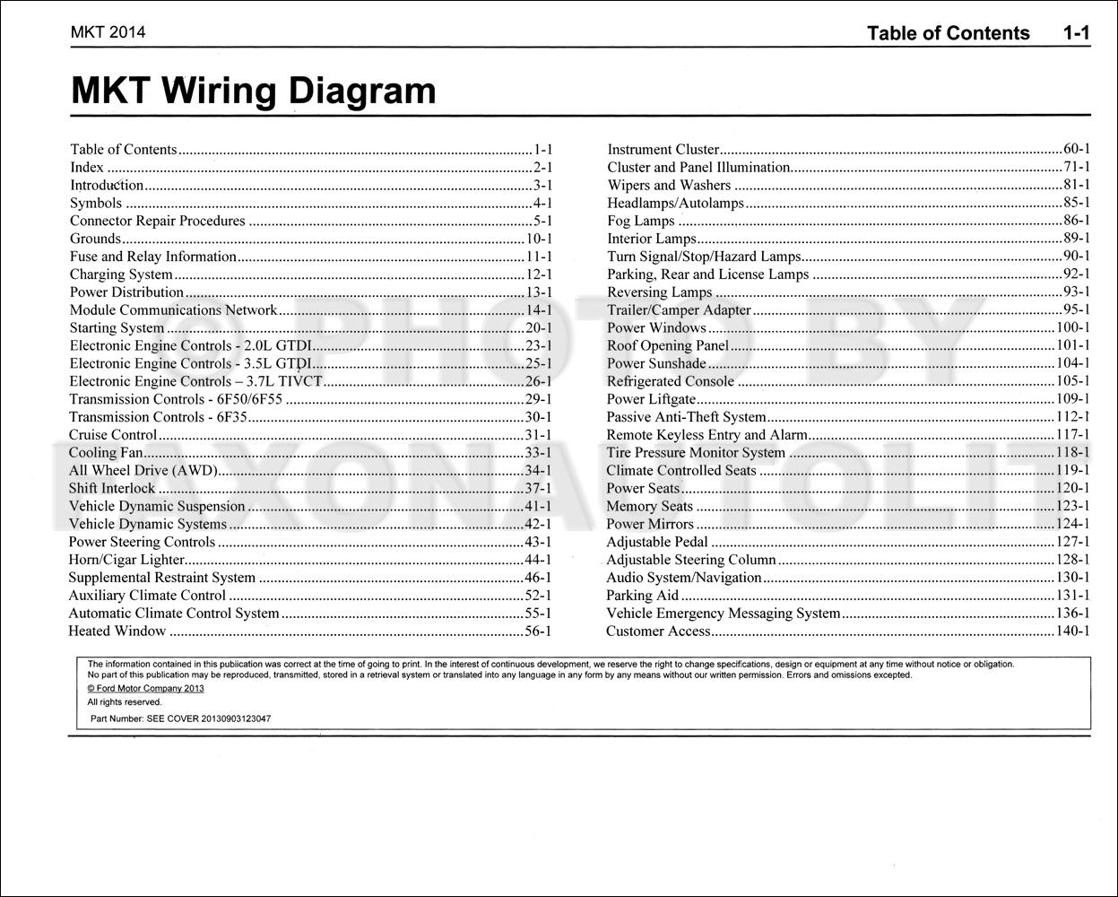 2014 Lincoln Mkt Wiring Diagram Manual Original
