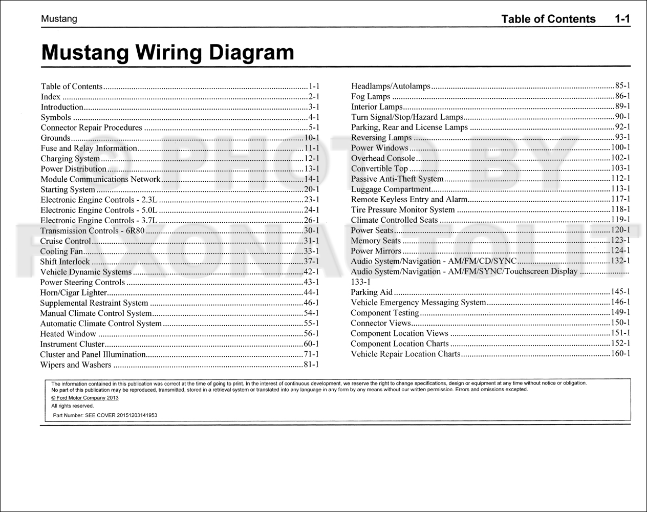 2015 Ford Mustang Wiring Diagram Manual Original