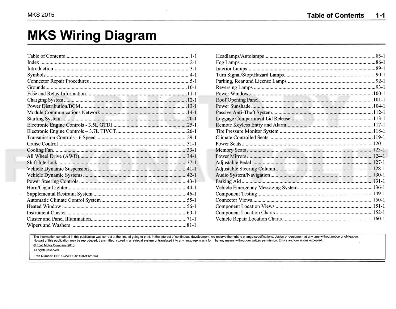 2015 Lincoln Mks Wiring Diagram Manual Original