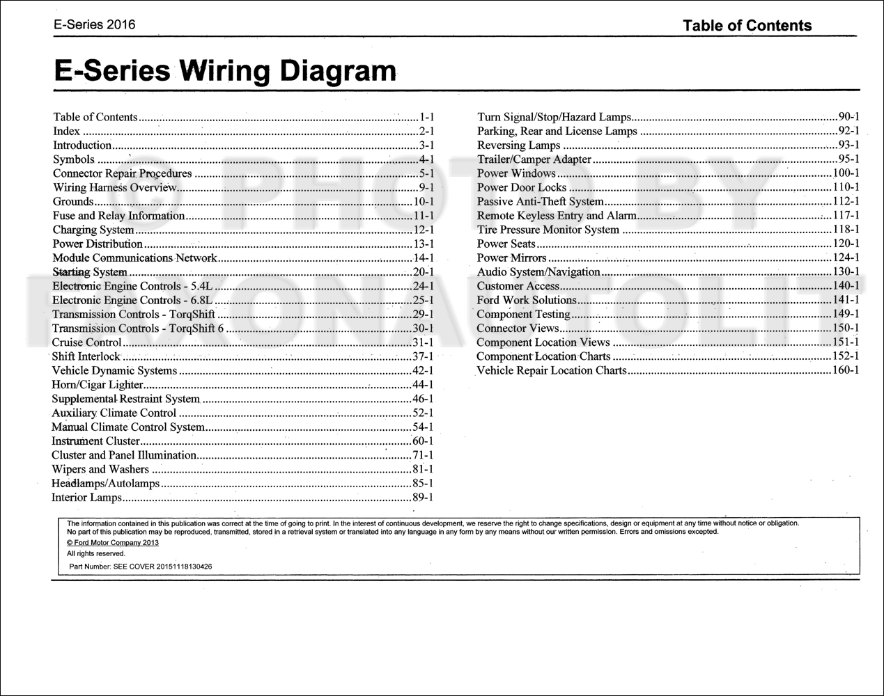 2016 Ford Econoline Wiring Diagram Manual Original Van E