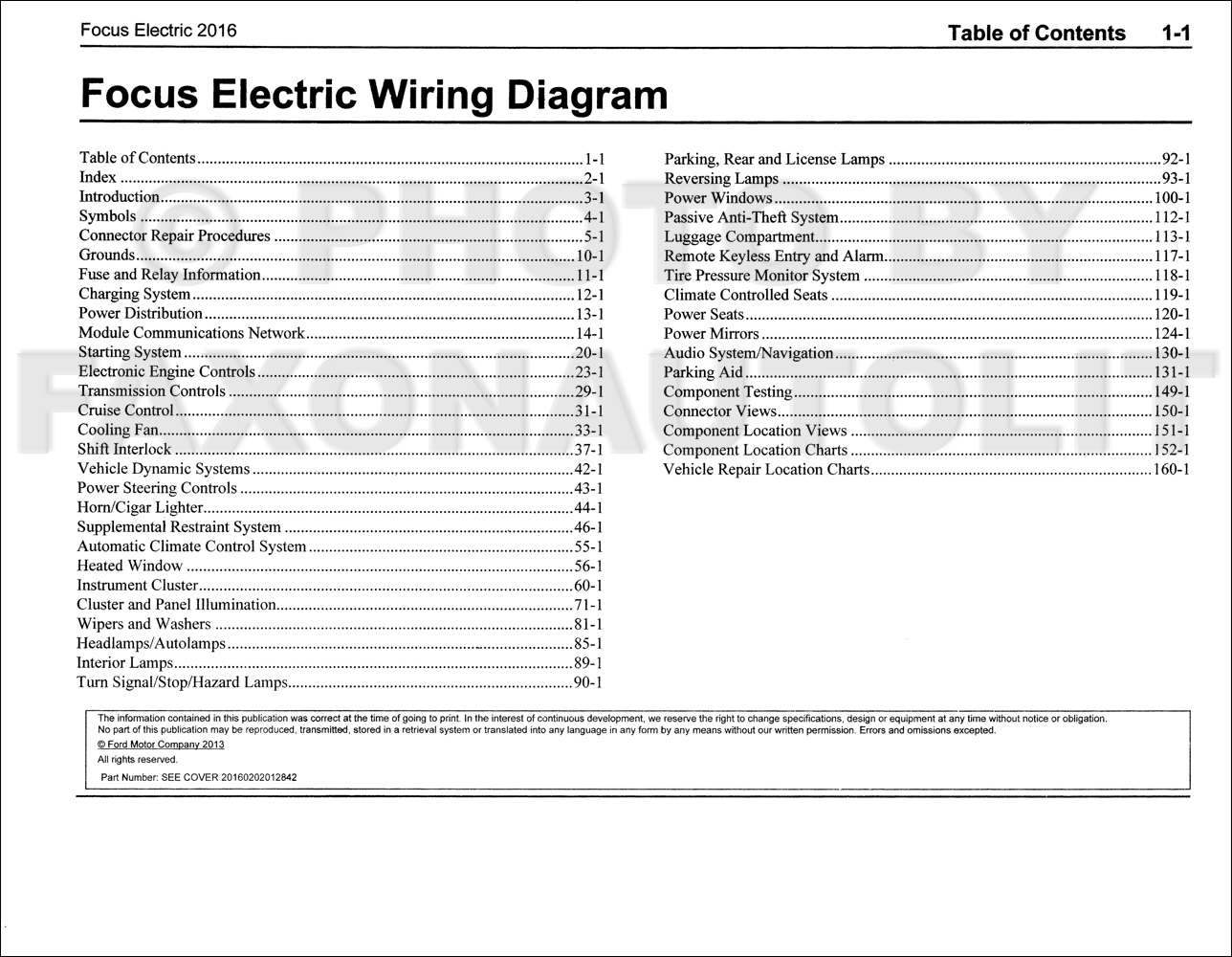 2016 Ford Focus Electric Wiring Diagram Manual Original