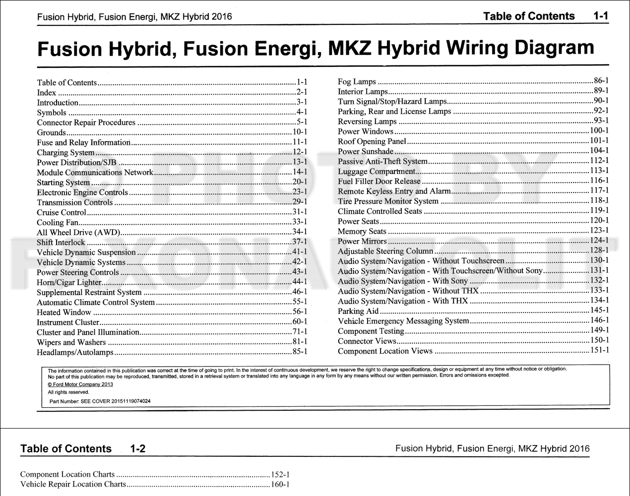 2016 Ford Fusion Energi Hybrid Lincoln Mkz Hybrid Wiring Diagram Manual Original