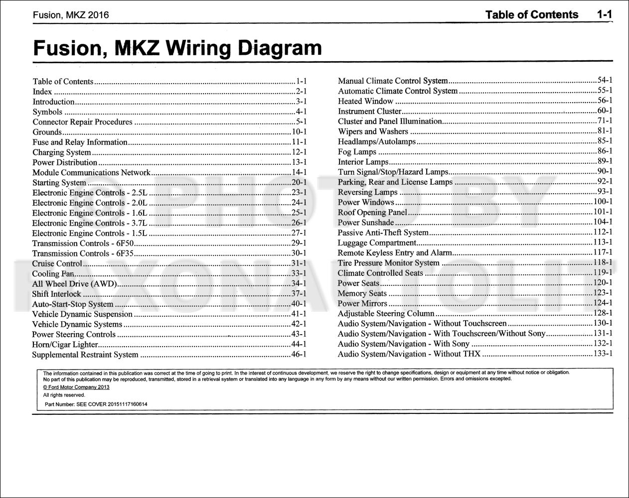 2016FordFusionMKZOWD TOC1 2016 ford fusion lincoln mkz wiring diagram manual original fusion wiring diagram at metegol.co