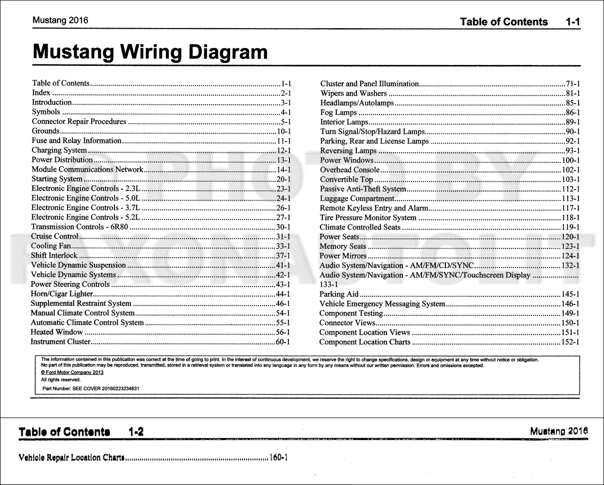 2016FordMustangOWD TOC 2016 ford mustang wiring diagram manual original 71 mustang wiring diagram at bayanpartner.co