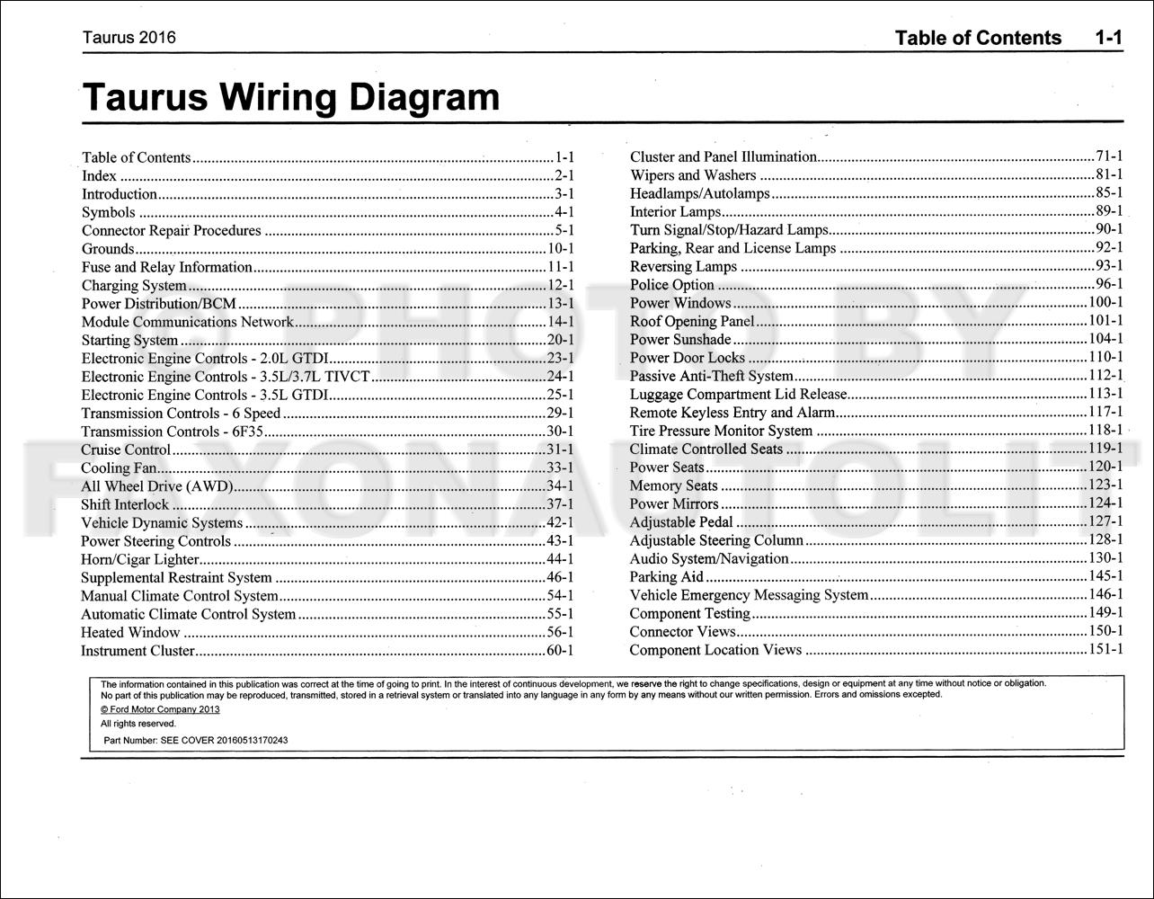 2016 Ford Taurus Wiring Diagram Manual Original