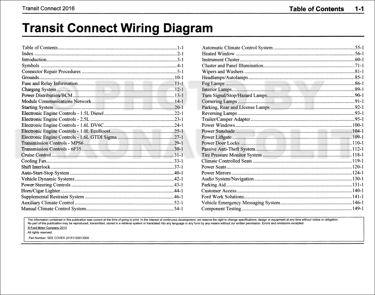 2016 Ford Transit Connect Wiring Diagram Manual Original