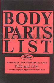 1935-1936 Ford Body Parts List Reprint: Car, Pickup, & Truck
