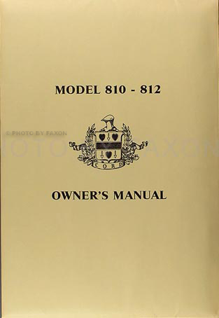36 37Cordrom Envelope 1936 1937 cord model 810 812 reprint owner's manual with envelope 1937 Cord at webbmarketing.co