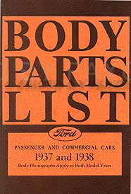 1937-1938 Ford Car & Pickup Truck Reprint Body Parts List