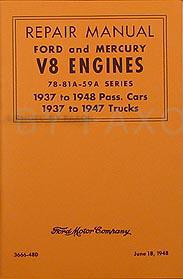 1937-1948 Ford and Mercury V8 Engine Repair Manual Reprint