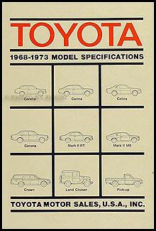 1969-1973 Toyota Service Specs Manual Original No. 01632