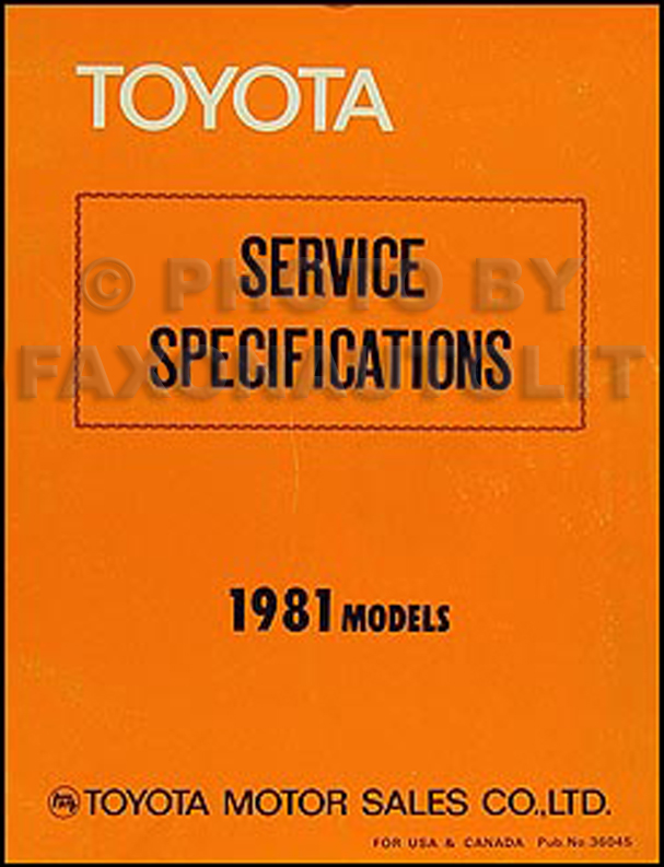 1981 Toyota Service Specifications Manual Original