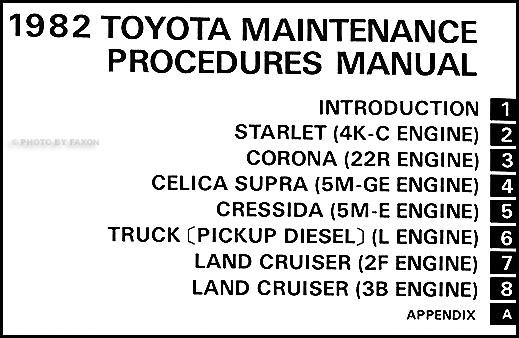 1982 toyota car  u0026 truck maintenance procedures manual original