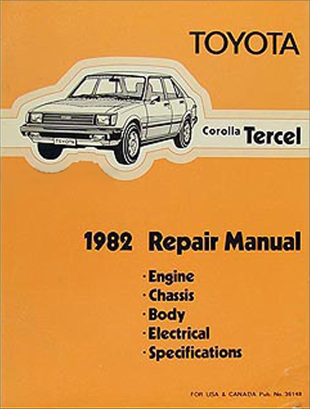 1982 Toyota Corolla Tercel Shop Manual Original No. 36148 (3A-C)