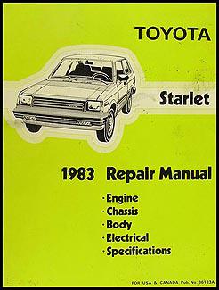 1983 toyota starlet repair shop manual original rh faxonautoliterature com